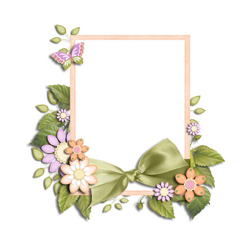 Photo Frame with Flowers - PNG image with transparent background