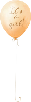 Balloon Orange - It's a Girl! - PNG image with transparent backgro