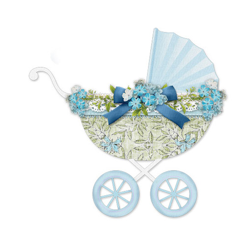 Baby Stroller Blue with Flowers - PNG image with transparent backgroun